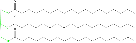 Estructura química de un triglicérido
