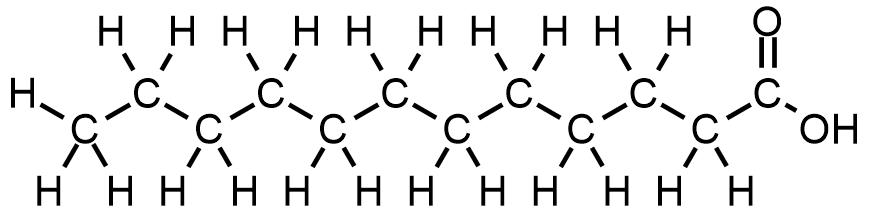 Estructura química del ácido láurico