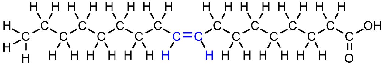 Estructura química del ácido oleico