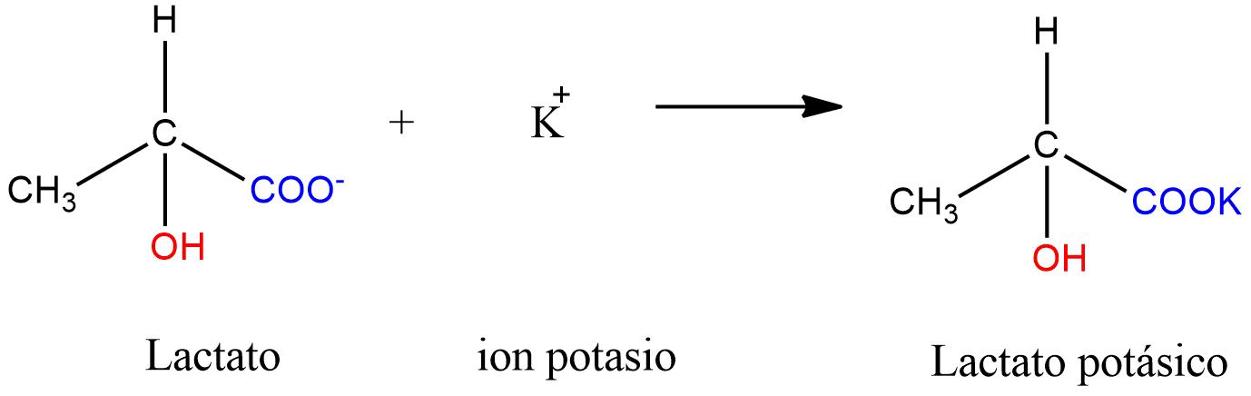 Formación del lactato potásico