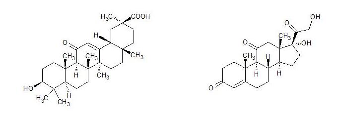 Similitud entre el ácido glicirretínico y la cortisona
