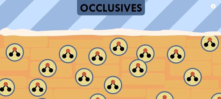 Oclusivos_moléculas de agua atrapadas por una sustancia oclusiva