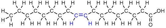 El ácido oleico contiene 18 C y un doble enlace