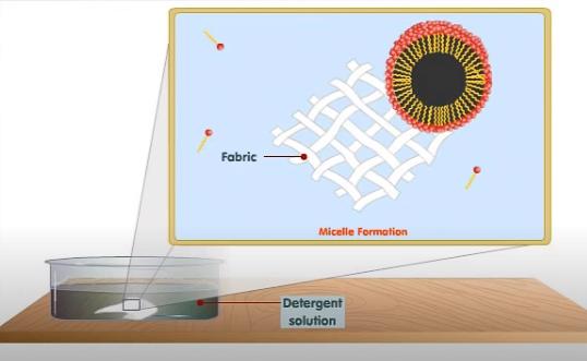 Desprendimiento de la micela de la superficie